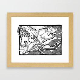 Swallows in the clouds Framed Art Print