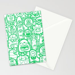 Doodle Monsters And Aliens Green White Pattern Stationery Cards
