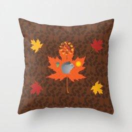 Grey Squirrel Autumn Pattern Throw Pillow