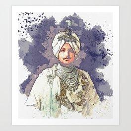 The Maharaja, Bhupinder Singh, of Patiala in the Punjab region of India, 1911 watercolor by Ahmet As Art Print