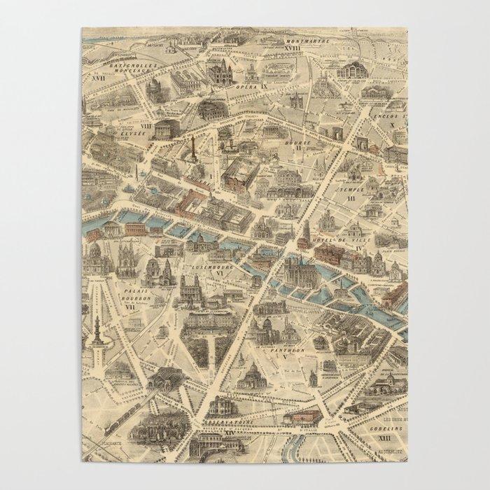 Vintage Pictorial Map of Paris France (1871) Poster