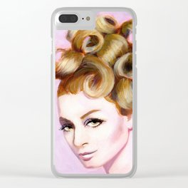 Sixties girl with bouffant Clear iPhone Case