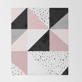 Geometrical pink black gray watercolor polka dots color block Throw Blanket