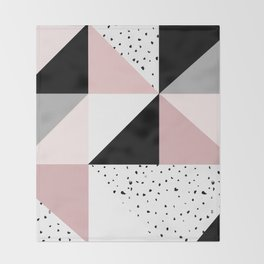 Geometrical pink black gray watercolor polka dots color block Throw Blanket
