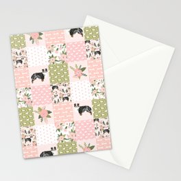 Australian Shepherd Patchwork - purple floral, flowers, dog, dogs, aussie dog, cute dogs, dog blanke Stationery Cards