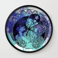 roller derby Wall Clocks featuring Nouveau Roller Derby by Mean Streak