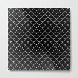 Black & Silver Mermaid Scales Pattern Metal Print