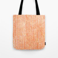 party Tote Bags featuring Stockinette Orange by Elisa Sandoval