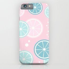 Cute colorful summertime pattern background with lemon slices iPhone Case