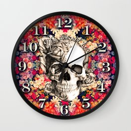 You are not here Day of the Dead Rose Skull. Wall Clock