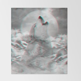 Maybe the Wolf Is In Love with the Moon v.2 (3D Effect) Throw Blanket