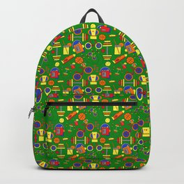 Retro & Fun Green Sports / Fitness, Colorful Rainbow Orange, Red, Yellow Bike Weights Jumpropes Backpack