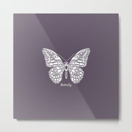 Butterfly White on Purple Background Metal Print