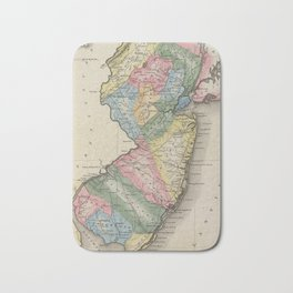 Vintage Map of New Jersey (1823) Bath Mat