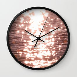 Sun glitter - blush gold Wall Clock