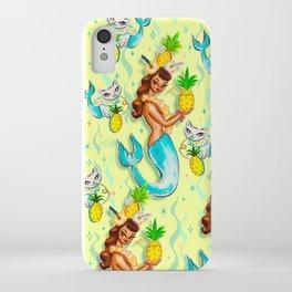 Tropical Pineapple Mermaid with Merkitties iPhone Case