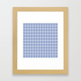 Squares and triangles pattern blue Framed Art Print