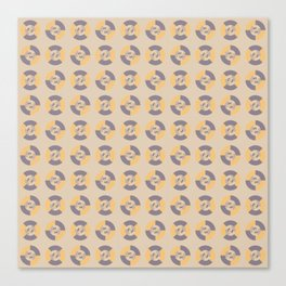 Simple geometric discs pattern yellow and taupe Canvas Print