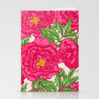 peonies Stationery Cards featuring peonies by melazerg