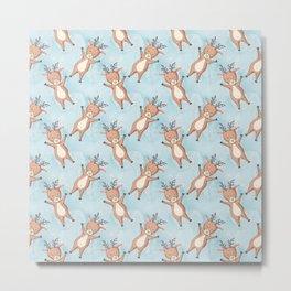 Brown Deer On A Blue Background Metal Print
