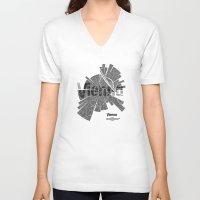 vienna V-neck T-shirts featuring Vienna Map by Shirt Urbanization