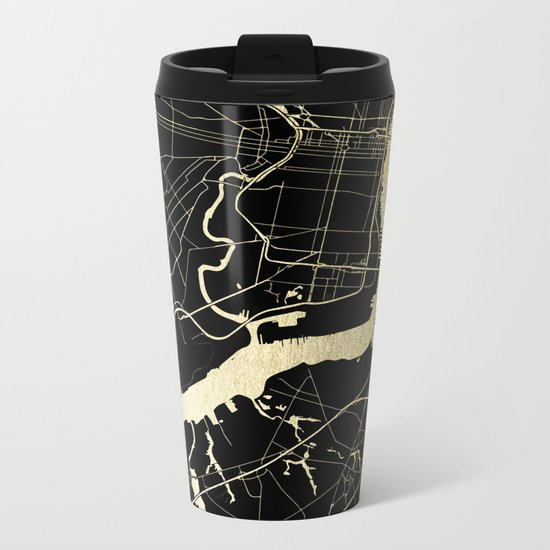 Philadelphia - Black and Gold Metal Travel Mug
