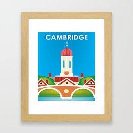 Cambridge, Massachusetts - Skyline Illustration by Loose Petals Framed Art Print