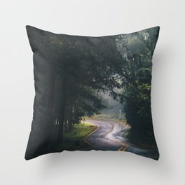 GREY - CONCRETE - ROAD - DAYLIGHT - JUNGLE - NATURE - PHOTOGRAPHY Throw Pillow