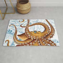 Brown Octopus Ancient Map White Rug