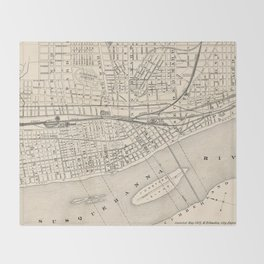 Vintage Map of Harrisburg PA (1877) Throw Blanket