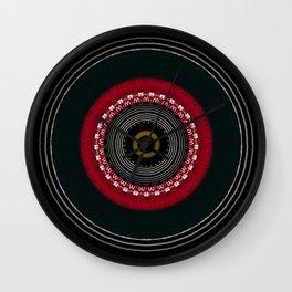 Modern Black White and Red Mandala Wall Clock
