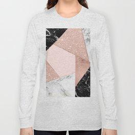 Modern rose gold glitter black white marble geometric color block Long Sleeve T-shirt