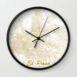 El Paso Map Gold Wall Clock