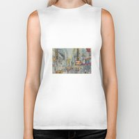 broadway Biker Tanks featuring Broadway,  New York - Five O'Clock Revised by Dorrie Rifkin Watercolors