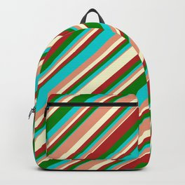 Eyecatching Dark Turquoise, Dark Salmon, Light Yellow, Red & Green Colored Stripes Pattern Backpack