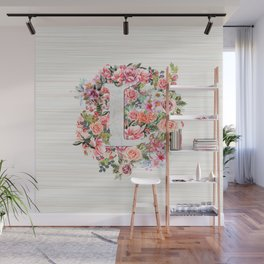 Initial Letter L Watercolor Flower Wall Mural