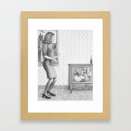 Girl with TV Framed Art Print