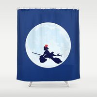 ponyo Shower Curtains featuring Kiki's Delivery Service Poster by Fluffy Pancakes