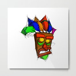 Aku Aku Digital Drawing, Games Art, Crash Bandicoot Metal Print