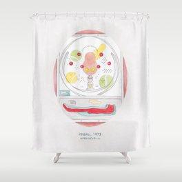 Haruki Murakami's Pinball, 1973 // Illustration of a Pachinko Machine in Watercolour and Pencil Shower Curtain