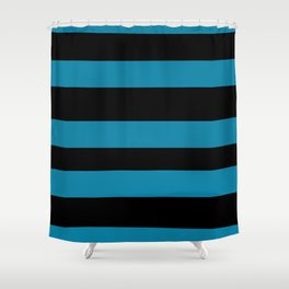 Primary Blue, Wishing Well Blue, Amazing Sky Blue, Blue to the Bone Hand Drawn Fat Horizontal Stripe Shower Curtain