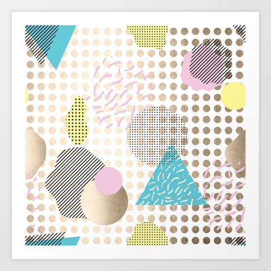 Simply Metallic Memphis Dots Art Print