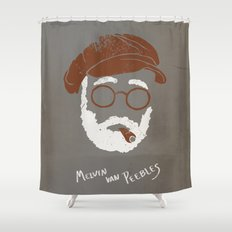 Melvin Van Peebles Minimalist Portrait Shower Curtain