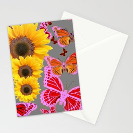 YELLOW SUNFLOWERS & MORPHING LILAC PURPLE MONARCH BUTTERFLIES Stationery Cards