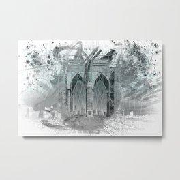 City Art Brooklyn Bridge in Detail | turquoise Metal Print