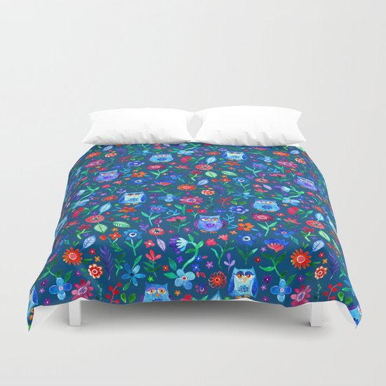 Little Owls and Flowers on deep teal blue Duvet Cover