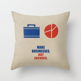 Lab No.4 -Make Businesses, Not Excuses Corporate Start-up Quotes poster Throw Pillow