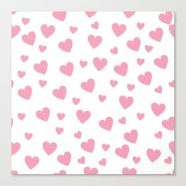 Hearts pattern - pink Canvas Print