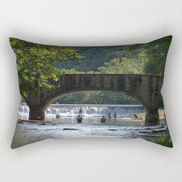 Fishing at the Bridge Rectangular Pillow