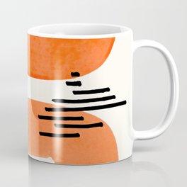 Mid Century Modern abstract Minimalist Fun Colorful Shapes Patterns Orange Watercolor Wiggle Stroke Coffee Mug